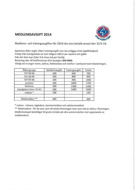 Medlemsavgift 2014